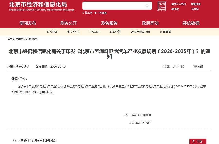 《北京市氢燃料电池汽车产业发展规划(2020-2025年)》发布